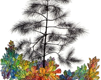 botanical greeting cards- pine tree growing out of rainbow crystals drawing printed on linen paper- original art cards