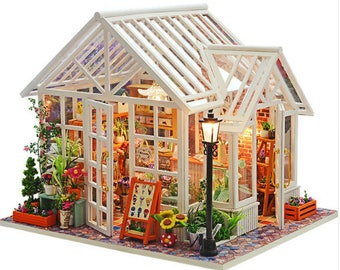 Doll House FREE Shipping!!! Furniture Diy Miniature Sosa Greenhouse Wooden Miniaturas Dollhouse Toys for Children Birthday Gifts