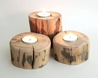 Rustic Wooden Candle Holder, Tea Light Set, Primitive Home Decor (Set of 3), Candles, Housewarming, Silver Birch, Rustic Decor, Centerpiece