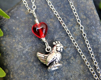 I Love Chickens necklace - tiny sterling silver hen under cute red glass heart - sterling silver chain - free shipping USA
