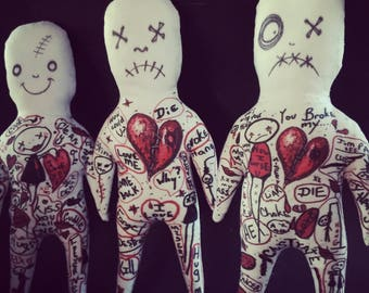 Unique Valentine Day Gift Humorous Voodoo Doll For Broken Heart or Marriage Minded Lovers Hang Man Goth Love