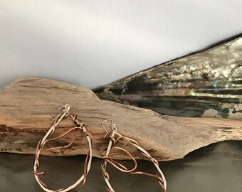 Oval Silver & Copper Earrings