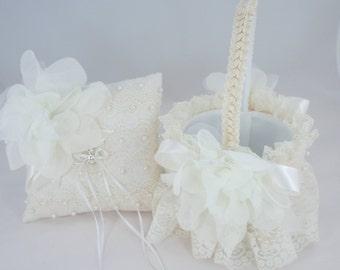 Flower Girl Basket, Ring Bearer Pillow, Set, Wedding Basket, Wedding Ring Pillow, Ivory, Pearls, Lace, Satin Ribbons