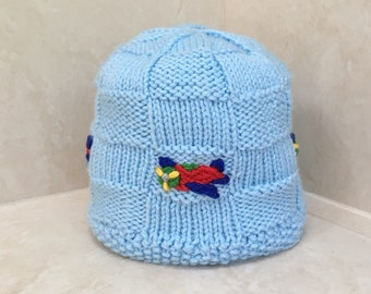 Child's Blue Airplane Hat, Child's Knit Winter Hat, Toddler Blue Hat, Embroidered Hat, 1-3 yrs.
