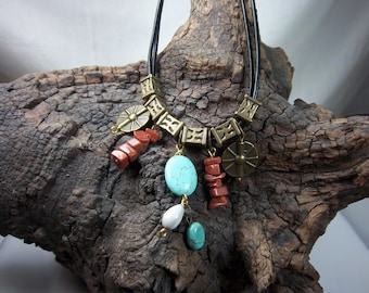 Southwestern Style Necklace, Turquoise, Brown Goldstone, Leather Cord, Seeds, Antique Brass,