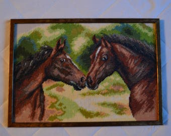 Cross stitch embroidered finished picture with frame-Gift for them-Gift for wedding anniversary-Horses-Home decor