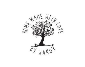 handmade with love whimsical tree Custom Rubber Stamp