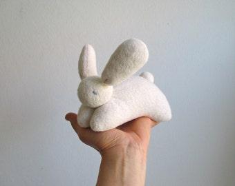 Bunny - organic, white, soft, cuddly, waldorf, eco friendly, Easter