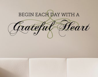 Grateful Heart - Vinyl Wall Decal Quote