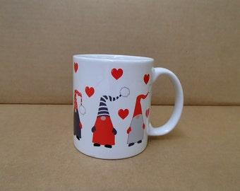 Scandinavian Tomte Nisse Gnomes & Hearts Coffee Tea Mug #195U