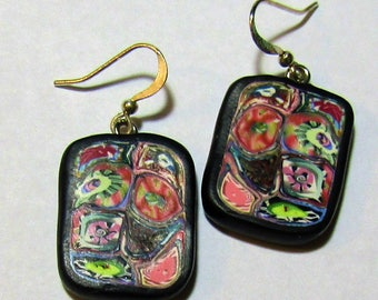 Pink and Red Abstract  Rectangular Polymer Clay Earrings by Carol Wilson of PollyClayDesigns