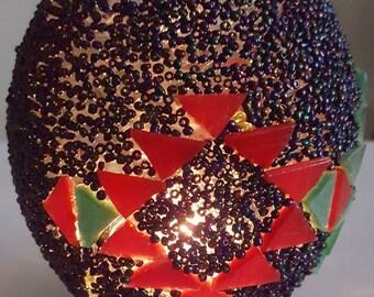 Candle holder mosaic; mosaic tea light holder; mosaic glass; beads; geometric model