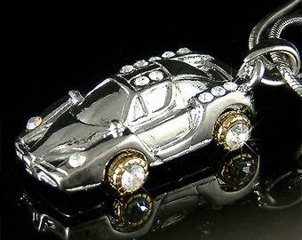 Swarovski Crystal Ferrari Enzo miniature Race Sports CAR Charm Pendant Necklace Jewelry New Christmas Gift