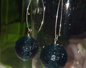 Vintage Lucite Teal Bead on Sterling Silver