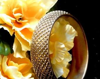 Silver Tone Mesh Bangle, Vintage Woven Mesh Bracelet, 1970 Mesh Bangle Bracelet, Gift For Her