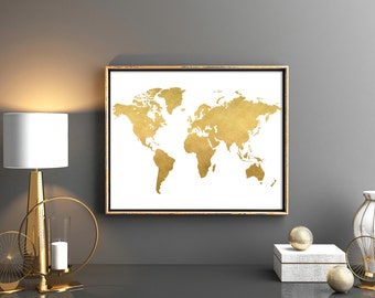 Gold world map download Map poster Map wall art Digital download Gold nursery Poster world map Map download Print world map 12x24 10x8