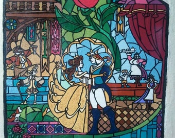 Beauty and the Beast Stain Glass Painting