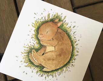 Sleep tight - rabbit - post card 14, 8 x 14, 8 cm, 300 g
