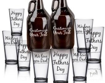 Custom Printed Growlers - 2 Growlers and 8 Pint Glasses