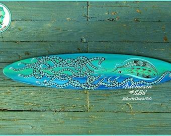 "Tribal Octopus Surfboard Wall Art, 42"" x 9"", *blue and aqua*, Artemisia: #SB8"