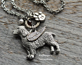 English Springer Spaniel Memorial Necklace, Springer Spaniel Angel, Springer Spaniel Jewelry, Pet Memorial Jewelry