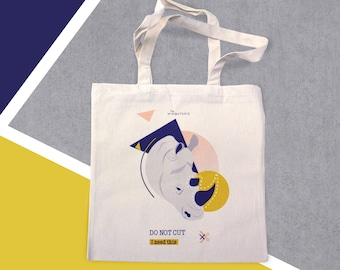 TOTE BAG organic cotton - Do Not Cut - Rhino - Made in France - Ecofriendly - Cruelty Free