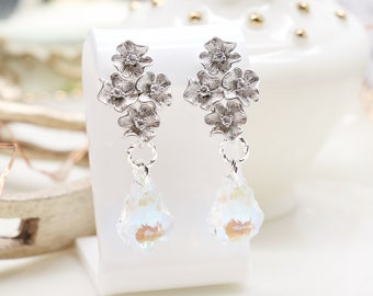 Silver color earrings with Swarovski