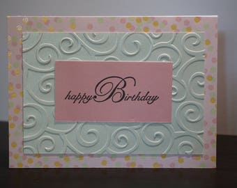 Happy Birthday Card, Pink and Green Pastel