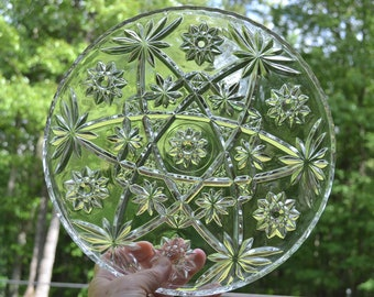 Vintage Star of David Glass Cake Plate Round Platter Pressed Glass Anchor Hocking Tea Party Wedding  PanchosPorch