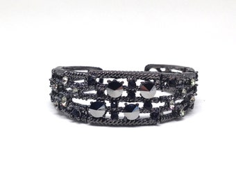 Gorgeous Sophisticated Jet Black Wires Tied Together Reflective Black Beads Cuff