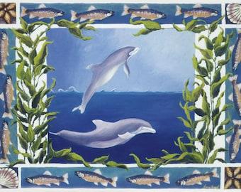 Dolphin Fish prints,dolphin prints, tropical fish, Tropical fish art, tropical fish on Gallery wrap canvas, dophin canvas prints