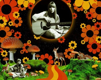 Call Her Green.. Joni Mitchell Collage Art Print