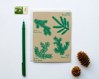 DISCONTINUED - Holiday Tree Branches - Christmas - New Years card - Holiday - botanical - screen printed - calligraphy - shimmer opal