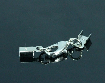 Cord tips 25 pcs nickel plated (alloy) lobster clasps with (brass) crimp end (2,8 mm) set (12mm Lobster) 12E28N