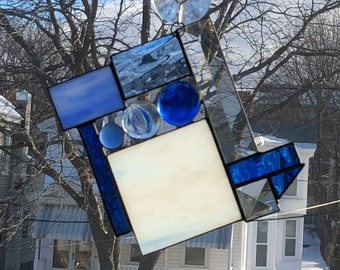 Bevel and Glass Abstract Suncatcher, Mixture of Blue and White Glass, Glass globs, Sun-catcher, Clear, Hand Crafted and Made in America