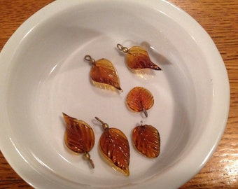Beads lot-amber glass leaf charms