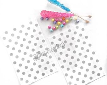 Gray Polka Dot Favor Bag | GRAY Favor Bags (5x7) | Gray Baby Shower | Gray Wedding Favors | Grey and Yellow Wedding Shower Decor | Candy