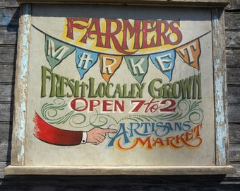 Farmers Market Sign original hand painted & lettered.  Flag banner spells out market, fixer upper farmhouse country, fresh produce, artisan