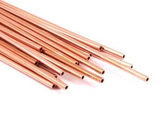 Himmeli Copper Tubes - 10 Raw Copper Tube Beads (2x135mm) D362