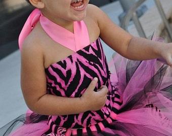 Kleinkind heisses Rosa & Schwarz Zebra Tutu Outfit Kostüm Set 3 pc (Tutu, stilvolle oben, Stirnband)