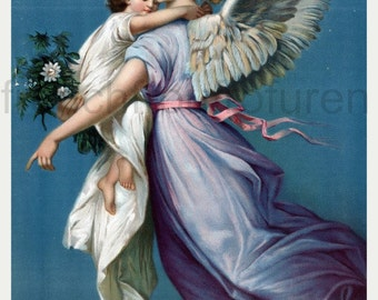 guardian angel protecting a child catholic illustration angel of peace DIGITAL DOWNLOAD