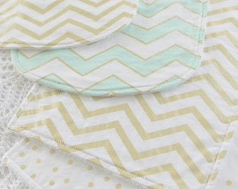 All That Glitters - Bib and Burp Cloth Set - 2 Bibs and 2 Burp Cloths - 100% Cotton