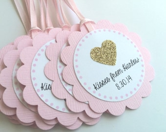 20 Pink and Gold Personalized Tags, Gold Glitter Heart, Baby or Bridal Showers, Birthday parties, Baptisms, Wedding Tags