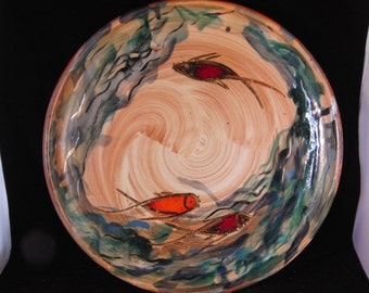 Vintage large clay plate with fish