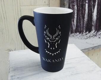 Large Black Personalized Black Panther Mug, Wakanda Mug, Black Panther Mug, Custom Coffee Mug, Personalized Mug, Coffee Mug, Mug (CS036A)