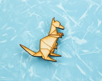 Origami Kangaroo pin badge - gift for lovers of Japan, paper folders, origami jewelry, japanese jewellery, Australian badge