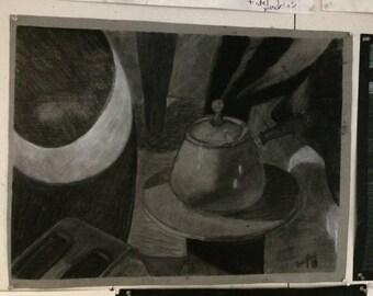 """Hand Drawn Charcoal Still Life 20x25"""""""