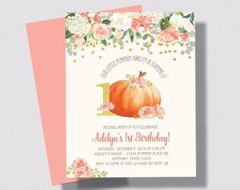 FIRST BIRTHDAY PUMPKIN Invitation Blush Pink, Peach and Gold Glitter Invitation | Shabby Chic Pumpkin First Second Birthday 1st 2nd 3rd