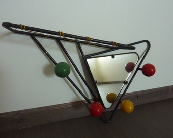 Coat rack with mirror, balls of color and scoubidou, 1950s vintage