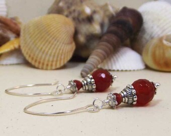 Petite Faceted Carnelian Silver or Ant.Copper Earrings